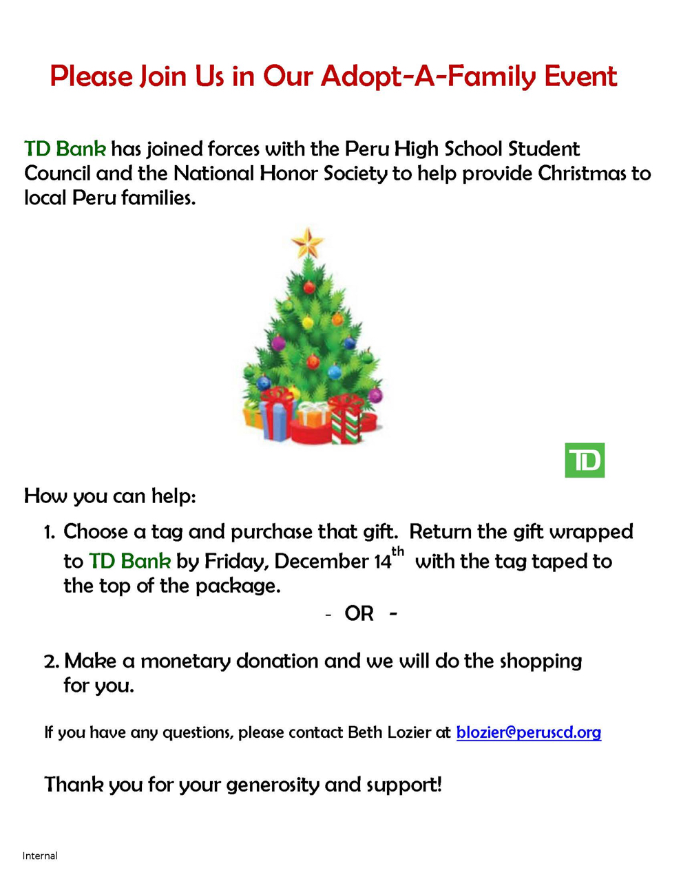 Td Bank Christmas Eve Hours.The Peru Gazette Td Bank Joins With Honor Society And